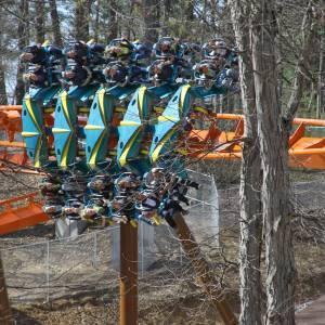 Staff rides Thunderbird roller coaster