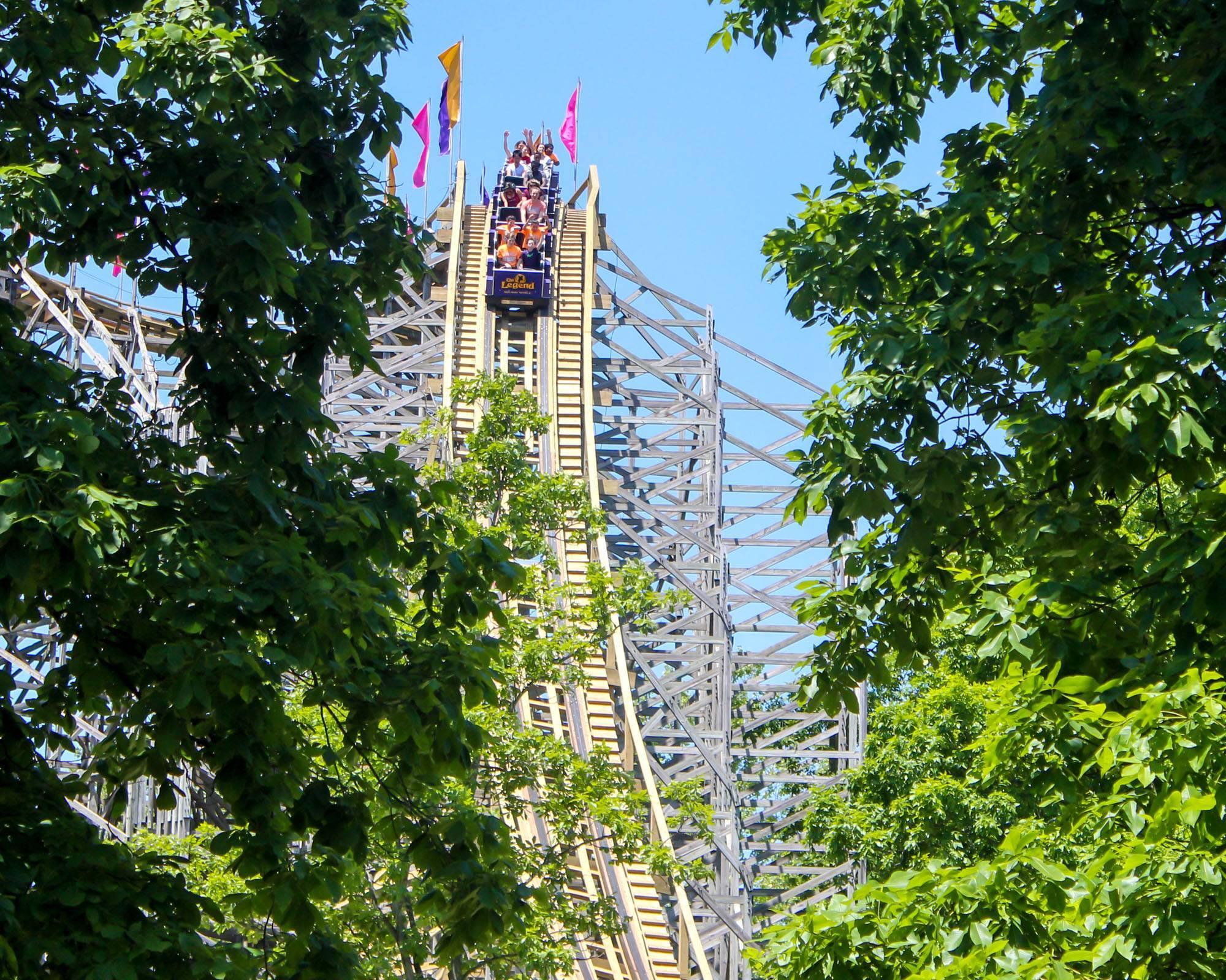 The Legend Wooden Roller Coaster   Holiday World & Splashin' Safari