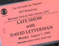 Letterman ticket