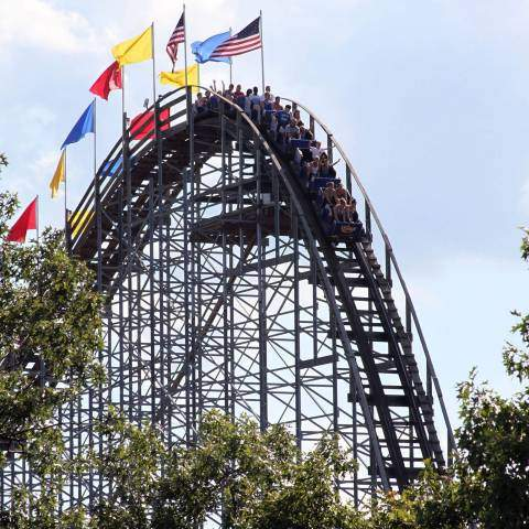 The Voyage wooden roller coaster at Holiday World