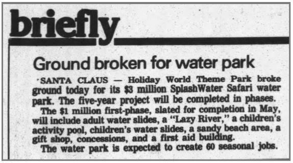 1992 newsclip about groundbreaking for Splashin' Safari
