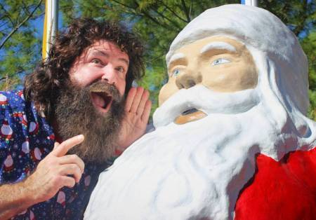 Mick Foley at Santa statue