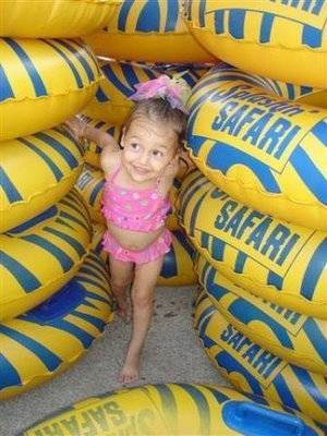 Child with inner tubes