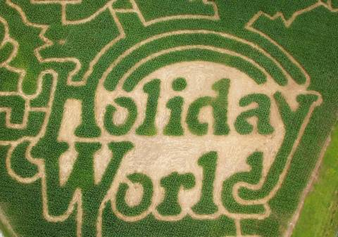 Holiday World logo in Corn Maze