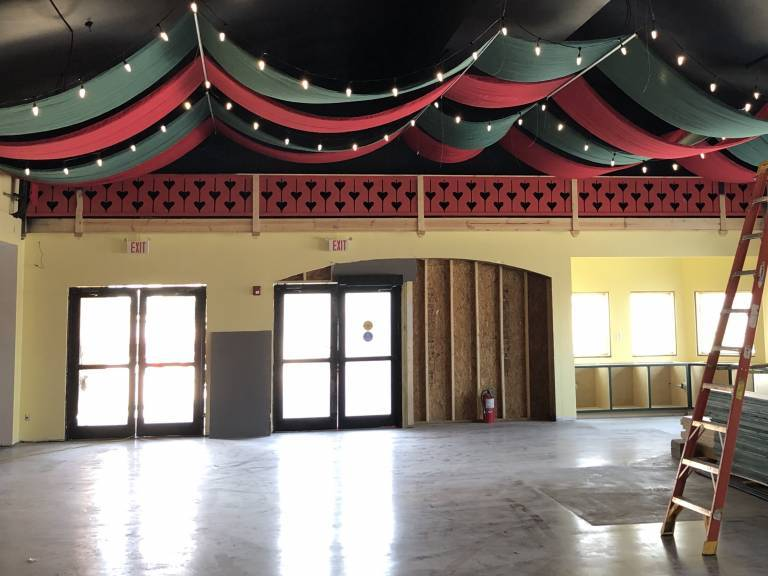 Fabric on Ceiling | Santa's Merry Marketplace tour