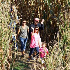 Family in Corn Maze