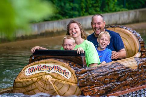 A happy family after getting soaked on Frightful Falls