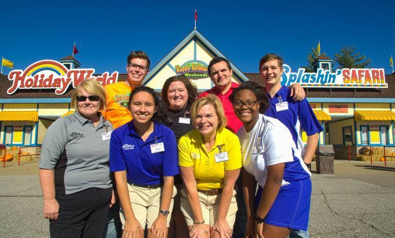 A picture with all Holiday World Uniforms represented.