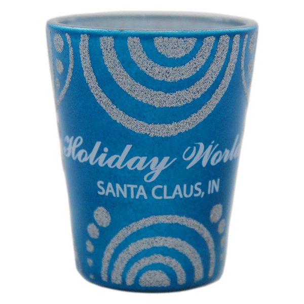 Holiday World Glitter Design Blue Shot Glass