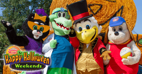 Holiday World Mascots Celebrating Happy Halloween Weekends
