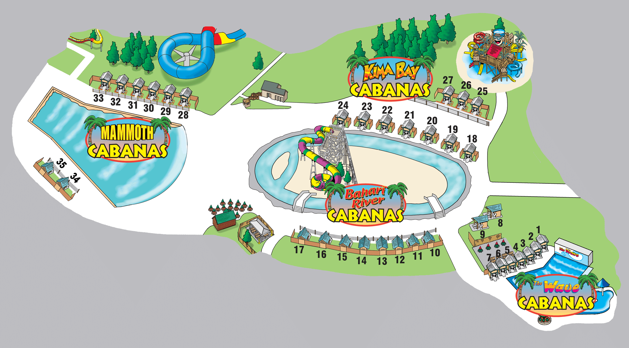 Map of Splashin' Safari's 35 Private Cabanas