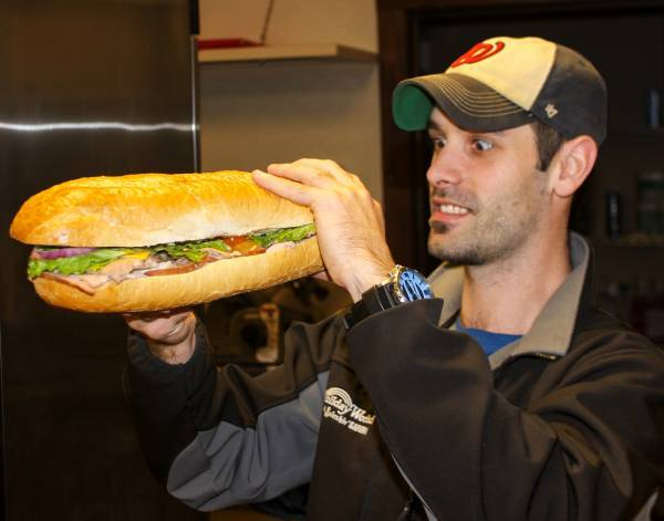 Justin with Giant Sub Sandwich for Cabanas