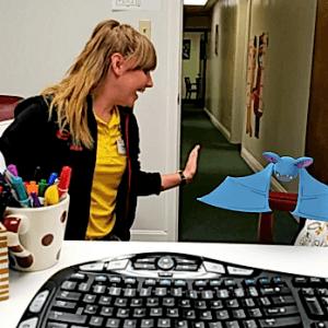 Lauren with Pokemon