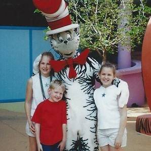 Lauren, William, and Leah with the Cat in the Hat