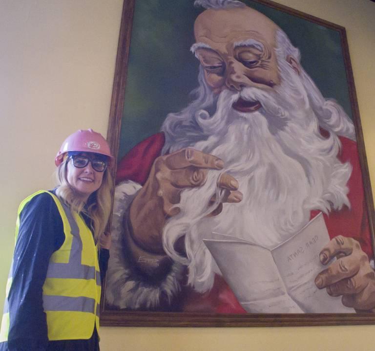 Lauren with Santa Mural