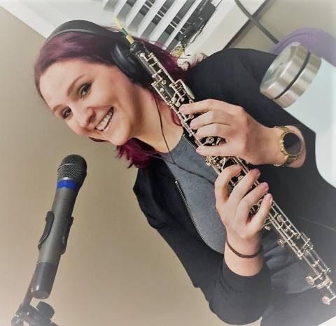 Leah Koch and her oboe