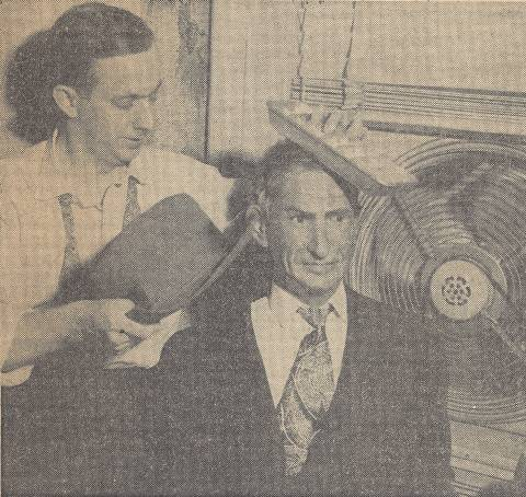 Lewis Sorensen with Will Rogers wax figure - newspaper clip