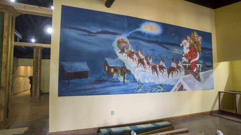 Santa's sleigh mural