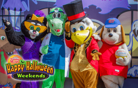 Kitty, Sam, George, and Holidog in their Halloween costumes!