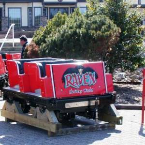 Raven car waiting to be placed onto tracks