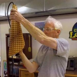 Rick making Waffle Cone Lights