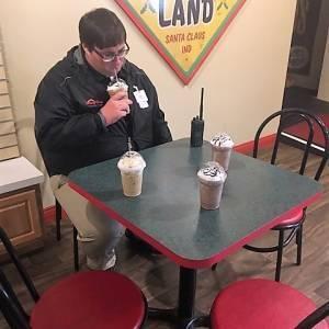 Sad Eric with 4 lattes