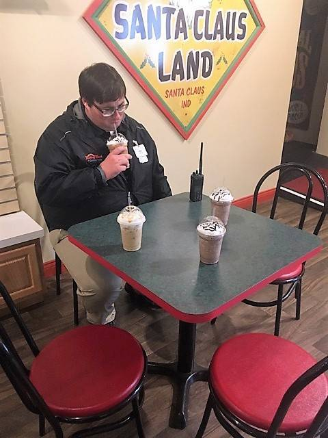 Sad Eric with 4 lattes