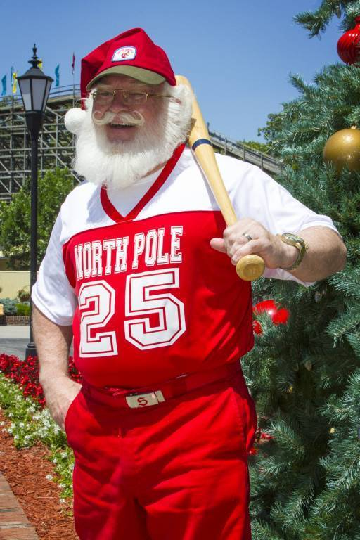 Santa in Baseball Jersey with Bat