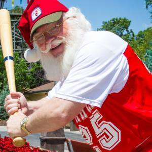 Santa playing baseball