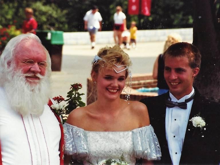 Santa with newlyweds Rosanna and Scott