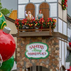 Santa Waving from Marketplace Balcony