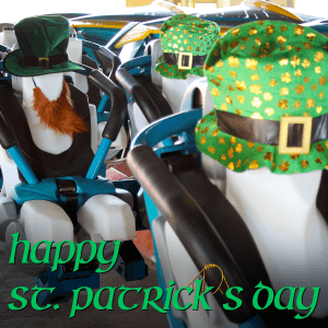 Thunderbird test dummies dressed for St. Patrick's Day