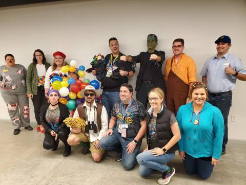 Full-time employees dressed up for Halloween