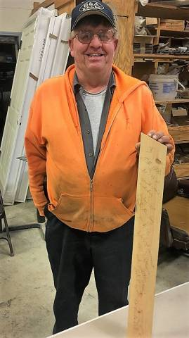 Tom Berg with Signed Lumber