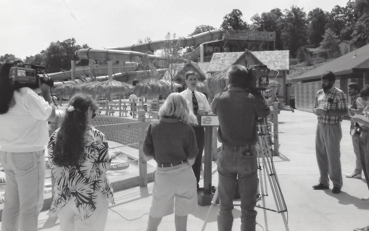 Shows Will Koch on opening day of Splashin' Safari in 1993