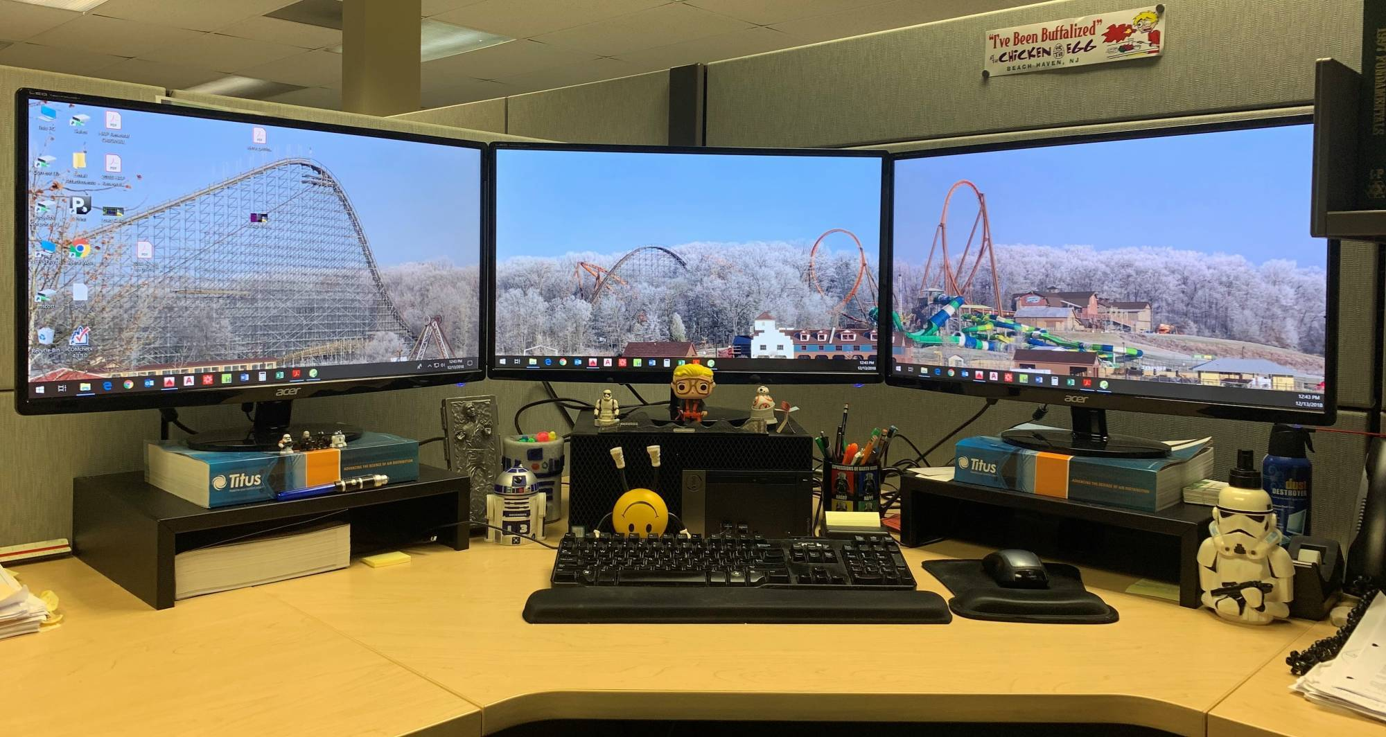three monitors of coaster photos